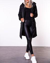Teresa Long Parka Coat Black/Nature Teddy