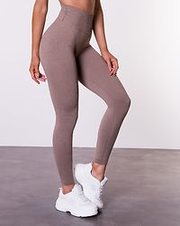 Espresso Ribbed Seamless Tights Brown