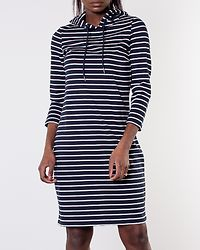 Tinny 3/4 Sleeve Hoodie Dress Total Eclipse/Snow White