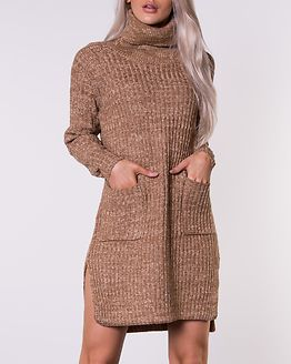 Roll Neck Knitted Dress Camel