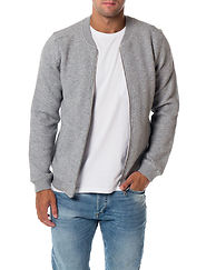 Quilted Zip Cardigan Grey Melange