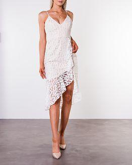 Cecilia Asymmetric Ruffle Hem Midaxi Dress White Lace