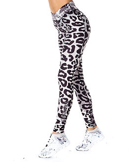 Leopard Tights Animal Silver