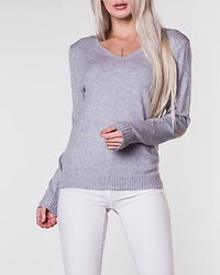 Ril V-Neck Knit Top Light Grey Melange