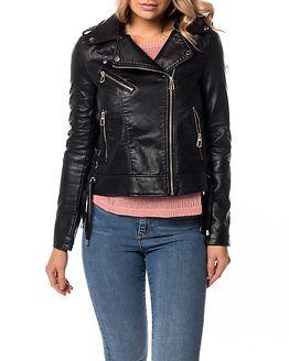 Berlin Short Faux Leather Jacket Black