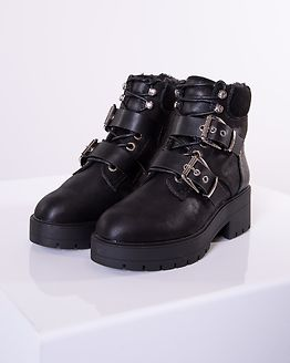 Branka Bouckle PU Winter Bootie Black