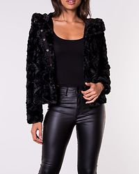 Curl Hoody Faux Fur Short Jacket Black