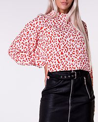 Lotte Blouse White Red Leopard