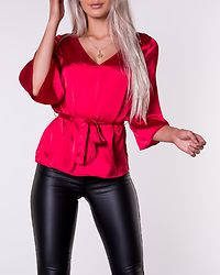 Turin Tie Belt Blouse Red