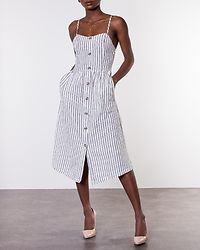 Luna Strap Stripe Denim Dress White/Stripes