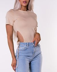 Cut Out Cropped T-Shirt Beige