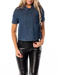 Laya Back Button Shirt Medium Blue Denim