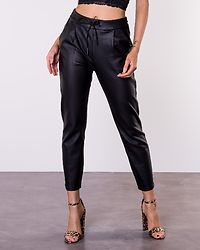 Eva Loose String Coated Pant Black