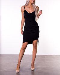 Draped High Slit Midi Dress Black