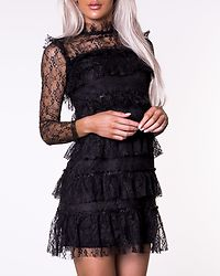 Nadine Lace Short Dress Black