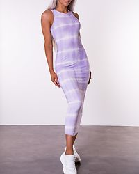 Effie Tie Dye Dress Pastel Lilac/White Tie