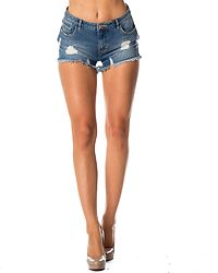 Julie Destroy Denim Shorts Light Blue