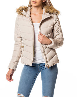 Ellan Quilted Fur Jacket Pumice Stone