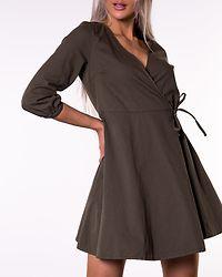 Henna 3/4 Wrap Short Denim Dress Ivy Green