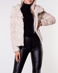 Curl Hoody Faux Fur Short Jacket Oatmeal