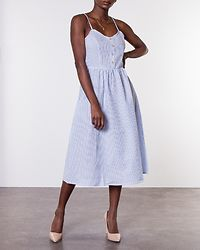 Karim Strap Dress Cloud Dancer/Light Blue