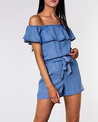 Mia Tencel Flounce Summer Playsuit Light Blue Denim