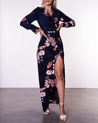 Letitia Split Wrap Maxi Dress Navy/Floral Print