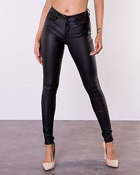 Anne Mid Waist Coated Jeans Black