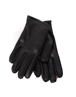 Geo Leather Gloves Black