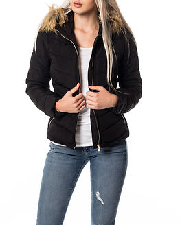 Ellan Quilted Fur Jacket Black