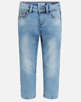 Knitted Denim Trousers Light Blue