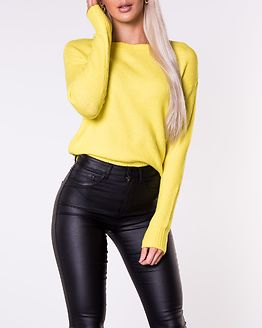 Favorite Pullover Denim Knit Neon Yellow