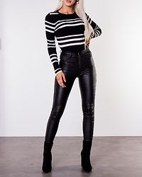 Anthony O-Neck Knit Black/Sugar Swizzle