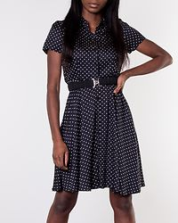 Roma Belt Short Dress Black/Dots