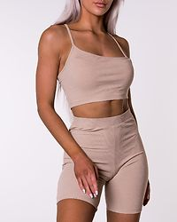 Ribbed Bicycle Shorts Beige