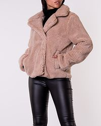 Oatmeal Flamingo Teddy Faux Fur Short Coat