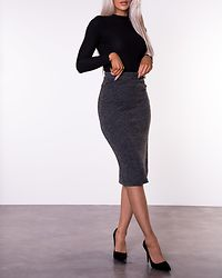 Jeamine Knit Midi Skirt Dark Grey Melange