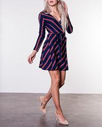Lavinia Woven Wrap Dress Navy/Striped