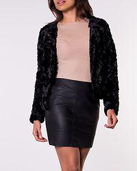 Curl Short Faux Fur Jacket Black