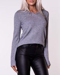 Ril V-Neck Knit Top Medium Grey Melange