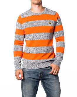 Crew Neck Rugby Stripe Jumper Orange Peel