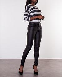Wide Stripe 3/4 Blouse Black/Light Grey Melange