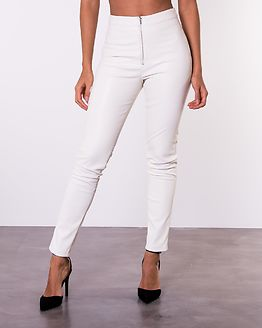Faux Leather Trousers Off White