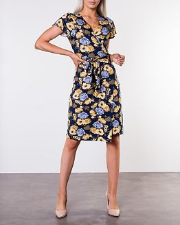 Amanda Wrap Dress Dusty Blue/Patterned