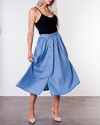 Mia Button Summer Skirt Light Blue Denim