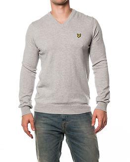 V Neck Cotton Pullover Light Grey