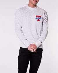 Relaxed Fit Badge Sweater Snow White Heather
