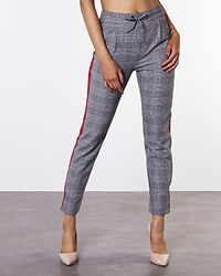 Eva Loose String Checked Panel Pant Grey/Red Panel