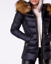 Eve Easy Nylon Down Jacket Black/Natural