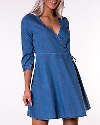 Henna 3/4 Wrap Short Denim Dress Light Blue Denim